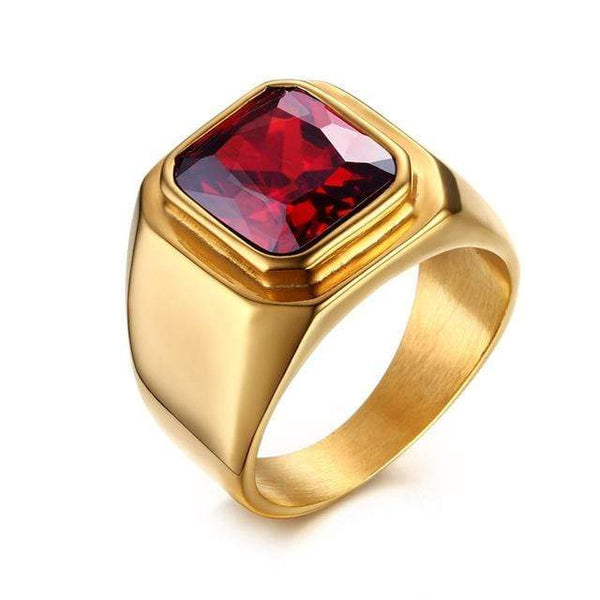 HAGA Shop Men's Jewelry 9 / Gold Color Men Ring Red CZ Stone Square Top Stainless Steel Gold Color Daily Male Alliance Jewelry Size