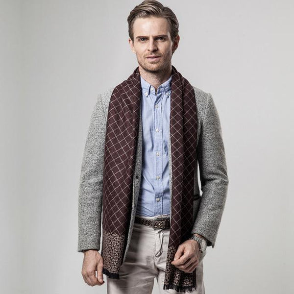 HAGA Shop Men's Scarves Color No 1 New Arrival Men Winter Scarf Business Plaid Cashmere