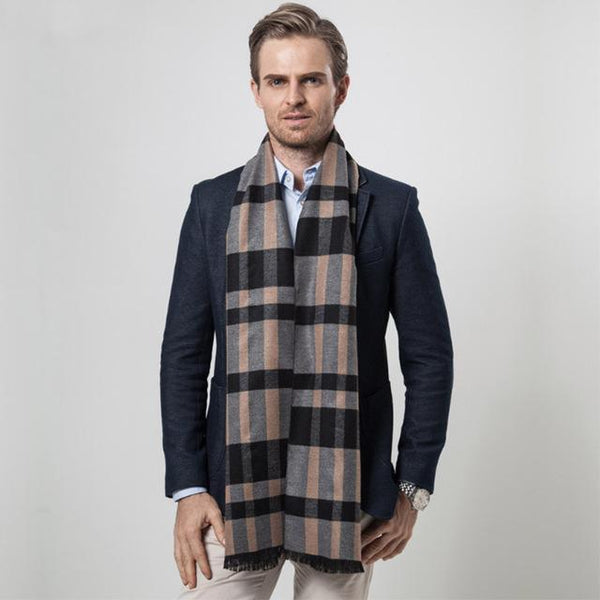 HAGA Shop Men's Scarves Color No 1 New Men Winter Brand Plaid Scarf  Fashion Designer Shawl Business Cashmere Scarves