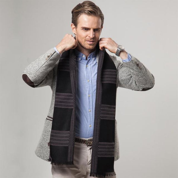 HAGA Shop Men's Scarves Color No 1 New Striped Men Luxury Brand Cashmere Scarf Business Warm Winter Wrap