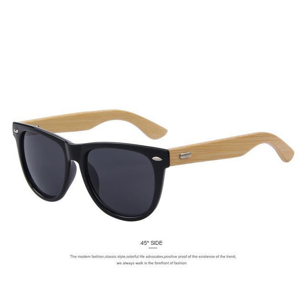 HAGA Shop Men's Sunglasses C01 Black Men Fashion Sunglasses Bamboo Temple Sunglasses