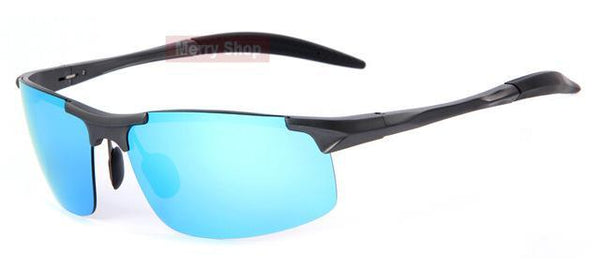 HAGA Shop Men's Sunglasses C01 Gray Blue Men Polarized Aluminum Alloy Frame Sunglasses 5 Colors