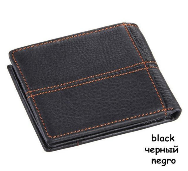 HAGA Shop Men's Wallets black Men Cow Genuine Leather Fashion Splice Wallet Comes With Three Color Options