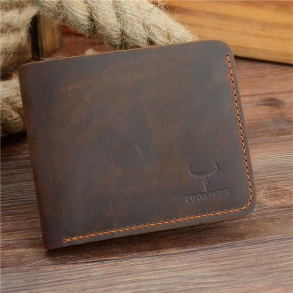 HAGA Shop Men's Wallets coffee cross Classic Style Men Horse Leather Wallets Vintage