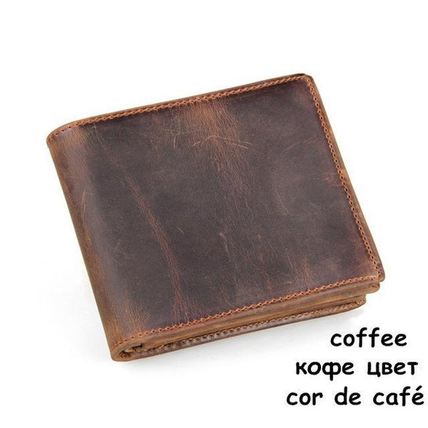 HAGA Shop Men's Wallets coffee High Quality Men Wallets Made From Cow Leather Short Style Original Brand