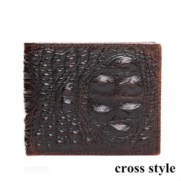 HAGA Shop Men's Wallets cross style Men Cow Genuine Leather Wallet Crocodile Embossed Vintage Designer