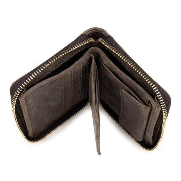 a681f659a536 HAGA Shop Men's Wallets Men Classic Wallet Made From Cowhide Leather Coffee  Color