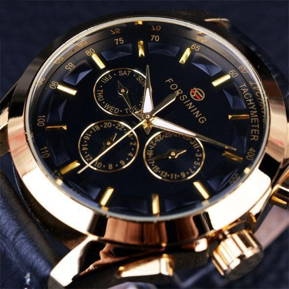 HAGA Shop Men's Watches Black Golden Business Time Series Black Genuine Leather Strap