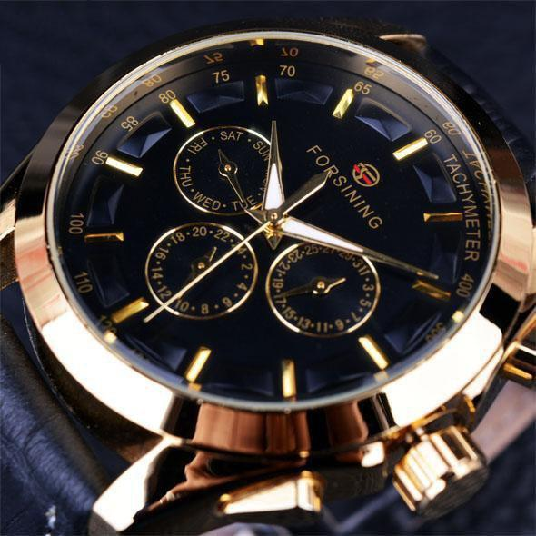 HAGA Shop Men's Watches Black Golden Men Retro Fashion Designer 3D Decoration Genuine Leather Strap Watch