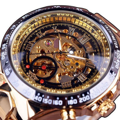 HAGA Shop Men's Watches Black Golden Top Brand Luxury Montre Homme Clock Men Automatic Skeleton Watch