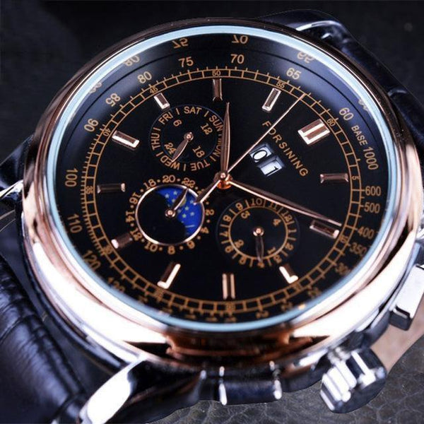 HAGA Shop Men's Watches Black Men Casual Moon Phase Rose Gold Case Brown Genuine Leather Strap Watch