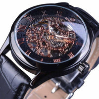 HAGA Shop Men's Watches Black Men Retro Classic Design Roman Number Display Transparent Case Mechanical Skeleton Watch