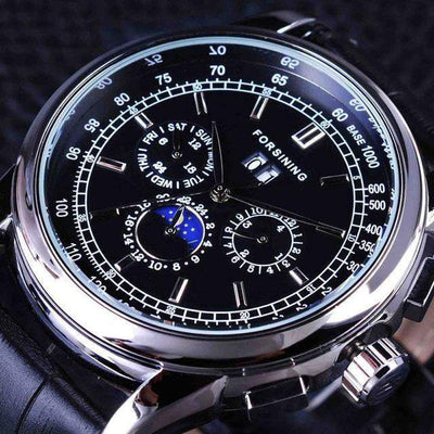 HAGA Shop Men's Watches Black Silver Men Casual Moon Phase Rose Gold Case Brown Genuine Leather Strap Watch