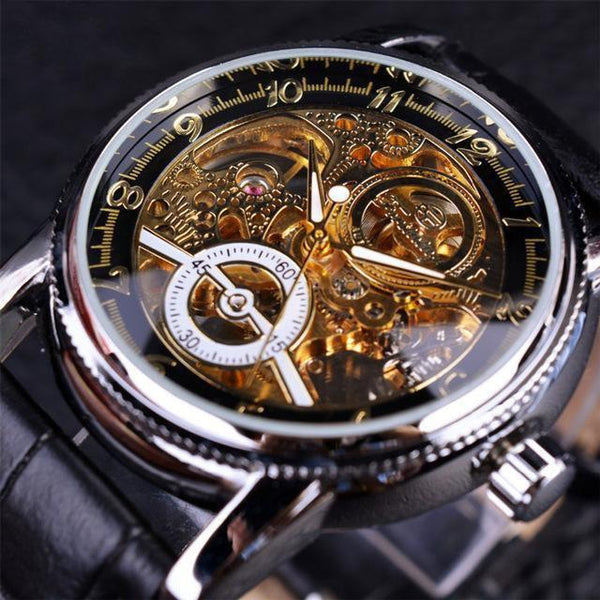 HAGA Shop Men's Watches Black Silver Men Hollow Engraving Skeleton Casual Designed Black Golden Case Gear Bezel Watches
