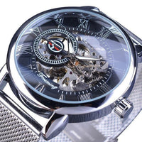HAGA Shop Men's Watches Black Silver Men Transparent Case Fashion 3D Logo Engraving Golden Stainless Steel Mechanical Watch