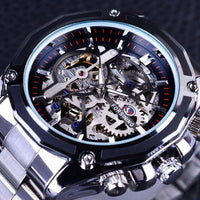 HAGA Shop Men's Watches Black Silver Newest Men Collection Watch Transparent Case Golden Stainless Steel Skeleton Design