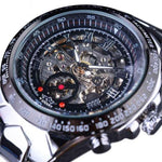 HAGA Shop Men's Watches Black Silver Top Brand Luxury Montre Homme Clock Men Automatic Skeleton Watch