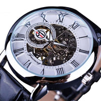 HAGA Shop Men's Watches Black White 3D Logo Design Hollow Engraving Mechanical Watches