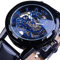 HAGA Shop Men's Watches Blue Men Black Gold Skeleton Leather Strap Wristwatch Mechanical Watch