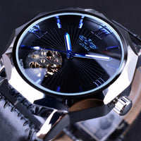 HAGA Shop Men's Watches Blue Ocean Geometry Design Transparent Skeleton Dial Mens Watch