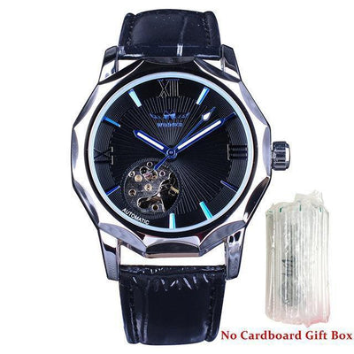 HAGA Shop Men's Watches Blue Without Box Blue Ocean Geometry Design Transparent Skeleton Dial Mens Watch