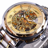 HAGA Shop Men's Watches Classic Design Transparent Case Golden Movement Inside Skeleton Wrist Watch Men Watches
