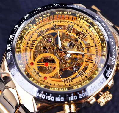 HAGA Shop Men's Watches Golden Top Brand Luxury Montre Homme Clock Men Automatic Skeleton Watch