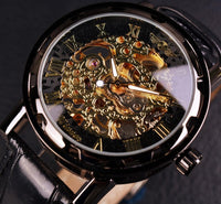 HAGA Shop Men's Watches Men Black Gold Skeleton Leather Strap Wristwatch Mechanical Watch
