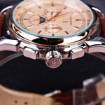 HAGA Shop Men's Watches Men Casual Moon Phase Rose Gold Case Brown Genuine Leather Strap Watch