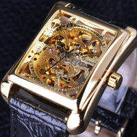 HAGA Shop Men's Watches Men Casual Series Rectangle Dial Design Golden Pattern Hollow Skeleton Watch