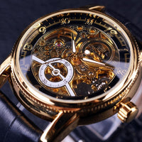 HAGA Shop Men's Watches Men Hollow Engraving Skeleton Casual Designed Black Golden Case Gear Bezel Watches