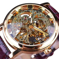 HAGA Shop Men's Watches Men Royal Carving Brown Leather Strap Transparent Skeleton Design Watch