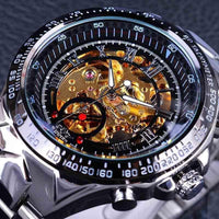 HAGA Shop Men's Watches Men Sporty Series Golden Movement Inside Silver Stainless Steel Watch