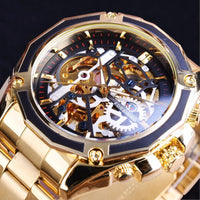 HAGA Shop Men's Watches Newest Men Collection Watch Transparent Case Golden Stainless Steel Skeleton Design