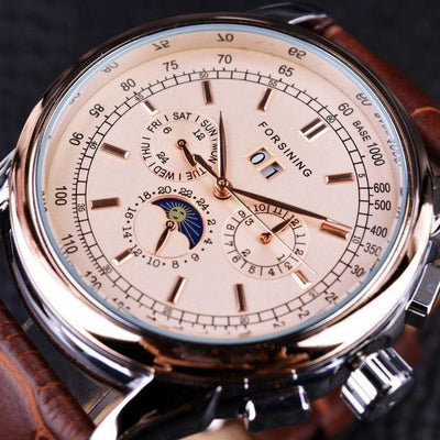 HAGA Shop Men's Watches Rose Golden Men Casual Moon Phase Rose Gold Case Brown Genuine Leather Strap Watch