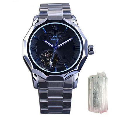 HAGA Shop Men's Watches Silver Blue Without Blue Ocean Geometry Design Transparent Skeleton Dial Mens Watch