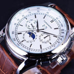 HAGA Shop Men's Watches Silver Men Casual Moon Phase Rose Gold Case Brown Genuine Leather Strap Watch