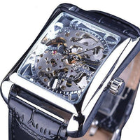 HAGA Shop Men's Watches Silver Men Casual Series Rectangle Dial Design Golden Pattern Hollow Skeleton Watch
