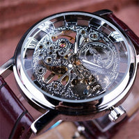 HAGA Shop Men's Watches Silver Men Royal Carving Brown Leather Strap Transparent Skeleton Design Watch