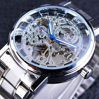 HAGA Shop Men's Watches Silver Unisex Transparent Steampunk Black Retro Casual Watches