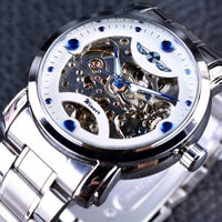 HAGA Shop Men's Watches White Blue Men Blue Ocean Fashion Casual Designed Stainless Steel Watch Skeleton Watch