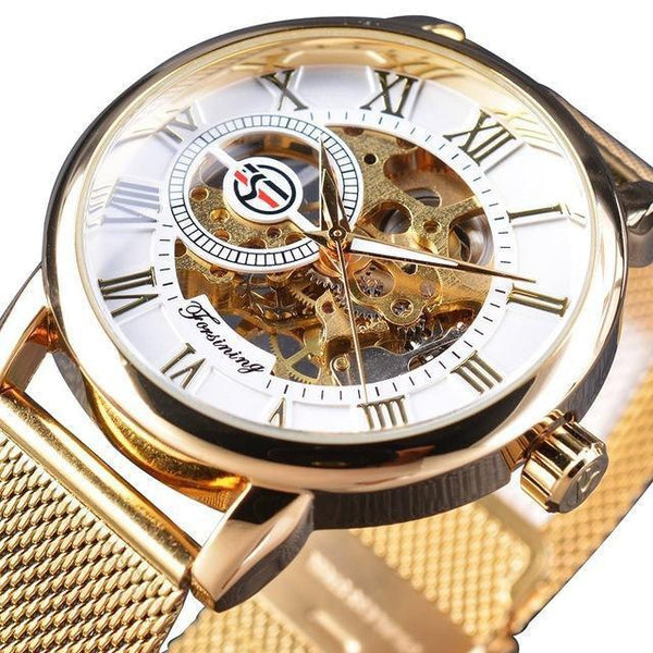 HAGA Shop Men's Watches White Golden Black Steel Transparent Case Roman Dial 3D Logo Engraving Men Mechanical Watches