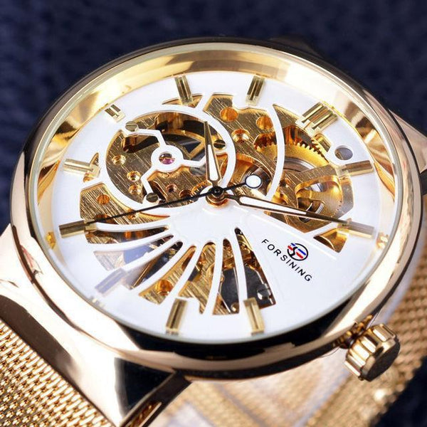 HAGA Shop Men's Watches White Golden Fashion Luxury Thin Case Unisex Design Waterproof Dial Watches