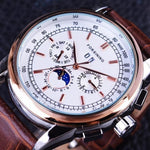 HAGA Shop Men's Watches White Golden Men Casual Moon Phase Rose Gold Case Brown Genuine Leather Strap Watch