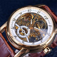 HAGA Shop Men's Watches White Golden Men Hollow Engraving Skeleton Casual Designed Black Golden Case Gear Bezel Watches