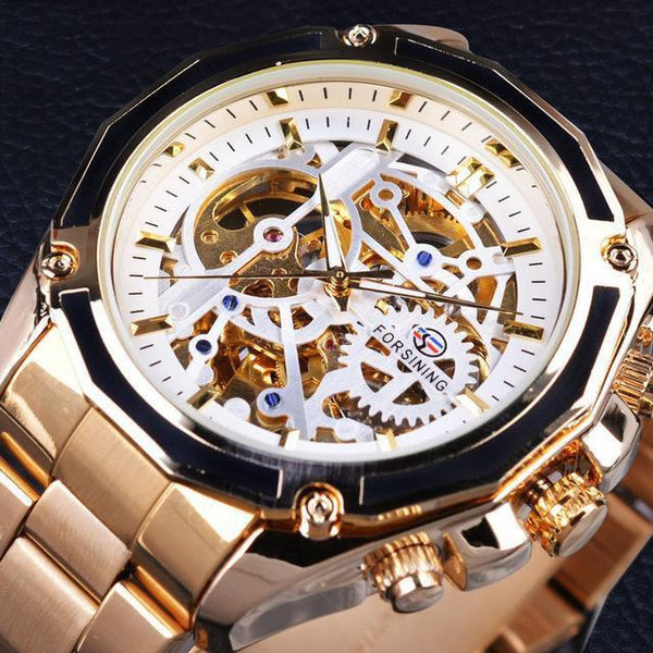 HAGA Shop Men's Watches White Golden Newest Men Collection Watch Transparent Case Golden Stainless Steel Skeleton Design