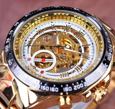 HAGA Shop Men's Watches White Golden Top Brand Luxury Montre Homme Clock Men Automatic Skeleton Watch