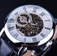 HAGA Shop Men's Watches White Men Luxury Mechanical Skeleton Watch Black Golden 3D Literal Design