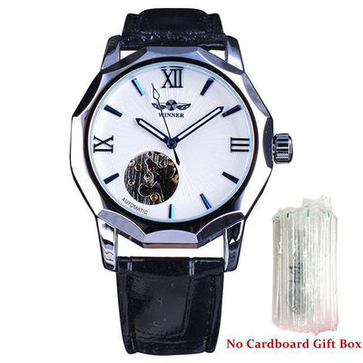 HAGA Shop Men's Watches White Without Box Blue Ocean Geometry Design Transparent Skeleton Dial Mens Watch
