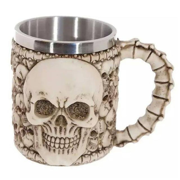 HAGA Shop Mugs & Cups White Cemetery Coolest Gothic Skull Resin Stainless Steel Beer Mug Dragon Knight Tankard Halloween Coffee Cup Christmas Tea Mug Pub Bar Decor